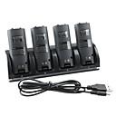 4-Port USB estación de carga  pilas recargables 4x1800mah para Wii / Wii U remoto (negro)