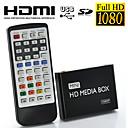 1080p Full HD mini reproductor multimedia para televisión, soporte USB, tarjeta SD y disco duro, salida HDMI