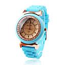 baby blue banda de silicona movimiento de cuarzo reloj de pulsera con decoración de diamantes czechic