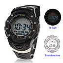 Waterproof Digital Multifunction EL Light Automatic Watch with Calendar  Alarm  Chronograph - Black
