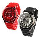 Pair of Chrysanthemum Shaped Metal Dial Design Quartz Wrist Watches - Black and Red