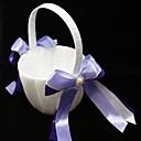 canasta de niña de las flores con cintas dobles y perlas de imitación