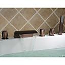 aceite-frotado cascada bronce grifo de la bañera con ducha de mano extendida