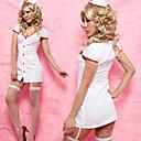 chica caliente de poliéster blanco escotado traje de enfermera (2 piezas)