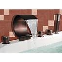 aceite-frotado bronce grifo de la bañera cascada generalizada con ducha de mano (diseño de la forma curva)