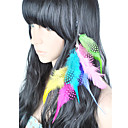 1 piezas coloridas extensiones de clip en el cabello de plumas