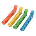 12cm alimentos coloridos clips de vacío del sello con los datos de marca (4-pack)