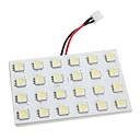 ba9s/festoon/t10 7w 24x5050 SMD 450-480lm Luz blanca LED bombilla para coche (12V DC)