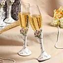 elegante diamante incrustado aumentó diseño flautas de tostado de la boda