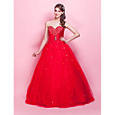 Ball Gown Strapless Sweetheart Floor-length Satin Tulle Evening/Prom Dress