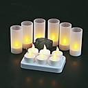 6 amarillo pc tibia llevado velas recargables sin llama de luz de té