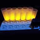12 pc amarilla cálida llevado velas recargables sin llama de luz de té