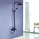 aceitado muro de bronce montado lluvia  cascada grifo de la ducha de mano