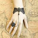 artesanal de encaje negro de estilo rococó, gothic lolita anillo de pulsera