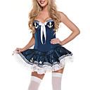 Sexy traje de marinero azul de poliéster con la cinta