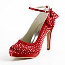 aguja de satén talón de la plataforma con los zapatos de pedrería mujeres del banquete de boda Popular
