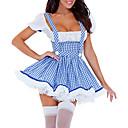 Cosplay Sexy Maid Adulto Mujeres Delgado Fancy Blue Dress disfraz de Halloween (2 Piezas)