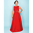 A-line Bateau Floor-length Satin Junior Bridesmaid Dress