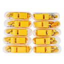 10 silbatos amarillos de plástico con caja de plástico (amarillo)