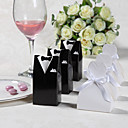 Classic Bride Groom Favor Box With Organza Ribbon (Set of 12)