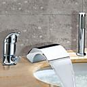 Acabado en cromo dos asas cascada contemporánea grifo de la bañera generalizada con ducha de mano