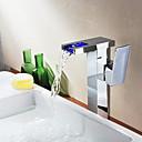 Cambio de color de baño sola manija LED grifo del fregadero cascada (alto)-cromado