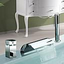 Acabado en cromo cascada generalizada grifo de la bañera dos asas Contemporáneo con ducha manual