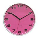 """11.5 """"h estilo moderno reloj de pared de línea de color rosa en el metal"""