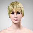 100% cabello humano rubio corto peluca de pelo lacio