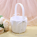 canasta de niña de las flores de raso blanco con diamantes de imitación