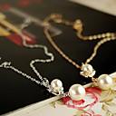 18k chapado en oro de la mujer elegante perla colgante collar