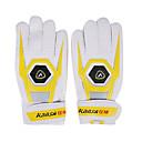 Antideslizante extendido Brazales completo dedo PU blanco y amarillo Profesional Guantes de portero de fútbol antidesgaste (1 par)