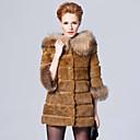 3/4 camiseta del mapache cuello de piel de conejo Rex con capucha Casual / Fiesta Coat (más colores)
