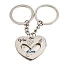 1-Pair Corazón Aluminio Forma Pareja llavero