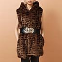 chaleco de piel con capucha de piel de fiesta / oficina chaleco de imitación