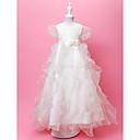 A-Line joya piso-longitud de organza y raso vestido de niña de las flores