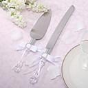 Bowknot raso de la boda personalizada Cake Cuchillo Y SET SERVER