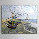 Petróleo famoso cuadro A-barco de pesca-on-the-beach-at-les-Saintes de Van Gogh