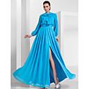 Aline High Neck Floorlength Chiffon Evening Dress