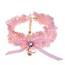 collar de perlas de encaje mascota circón
