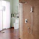 Moderne Système de douche Douche pluie Douchette inclue Soupape céramique Mitigeur quatre trous Chrome , Robinet de douche