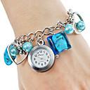 Aleación de plástico analógica Mujer reloj de pulsera de cuarzo (Azul)