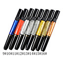 1pcs doble uso Nail Art Pen para dibujar Paint Esparcidos No.9-16 (colores surtidos)