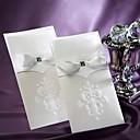 blanca flor de lis invitación de la boda de la vendimia con insert-conjunto de 50/20