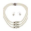 3 capa de conjunto de aretes collar de perlas pulsera