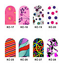 12PCS 3D Full-cubre Nail Art Stickers flash Powder serie de la flor (N º 3, colores surtidos)