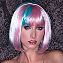 Cool White y rosa y azul del color mezclado Short Bob Wig