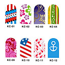 12PCS 3D Full-cubre Nail Art Stickers flash Powder serie de la flor (NO.1, colores surtidos)