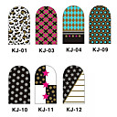 12PCS 3D Full-cubre Nail Art Stickers flash Series en polvo (N º 1, color clasificado)