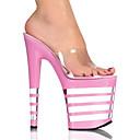 Zapatillas / Sandalias PVC superior rosa raya 9cm Plataforma 20cm del talón de estilete de las mujeres
